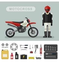 Motocross bike with parts vector image