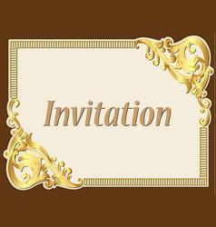 background frame vintage invitation with gold vector image