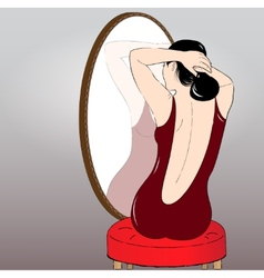Beautiful girl making hair bun before a mirror vector image vector image