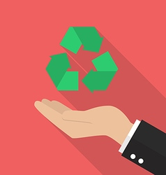 Hand holding recycle icon vector image