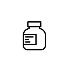 Line pills bottle icon on white background vector