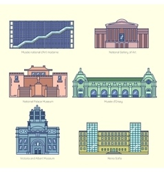 Monuments thin line icons vector image vector image