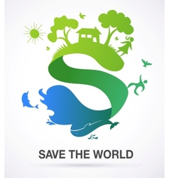 Save the world - nature and ecology background vector image