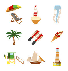 sea and tourism flat icon set cartoon vector image vector image
