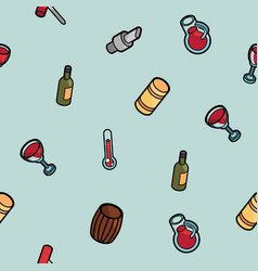 wine outline color isometric pattern vector image vector image