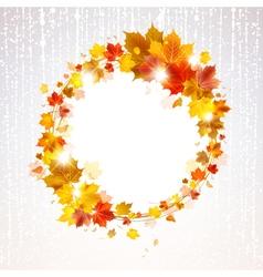 Autumn wreath of maple leaves vector