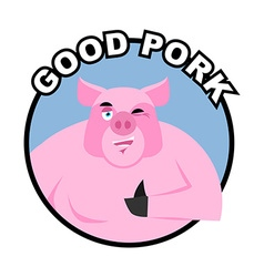 Good pork Pig thumbs up well and winks Signs all vector image vector image