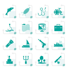 stylized fishing industry icons vector image vector image