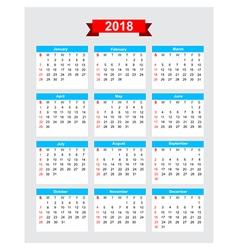 2018 calendar week start sunday vector image