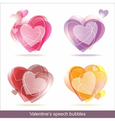 Hearts speech bubbles vector image