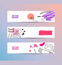set of cosmetics banners horizontal vector image vector image