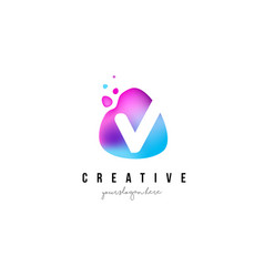 v letter dots logo design with oval shape vector image