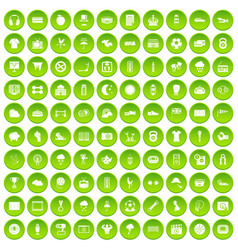 100 soccer icons set green circle vector