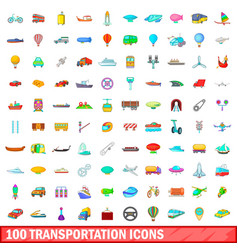 100 transportation icons set cartoon style vector image