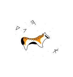 Ancient greek pottery animal simple line icon vector