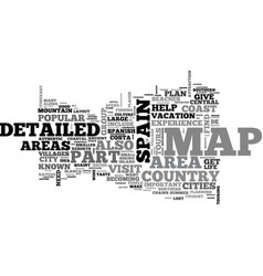 Areas on a detailed map of spain text word cloud vector