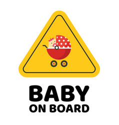 baby on board caution car sticker or child vector image