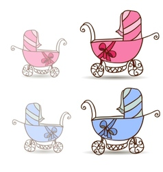 Baby stroller for girls and boys vector image