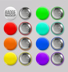 badge mockup set pin brooch button blank vector image