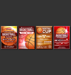 Basketball poster set design for sports vector