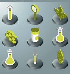 biology color isometric icons vector image