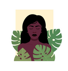 Black woman with tropical foliage design vector