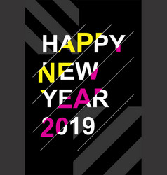 bright and modern poster for the new year 2019 vector image