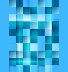 Bright geometric tech blue squares background vector