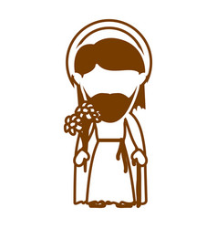 Brown silhouette of faceless image of saint joseph vector