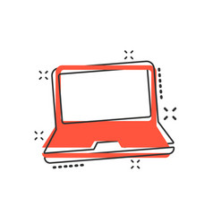 cartoon laptop computer icon in comic style vector image