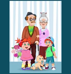 Cartoon of grandparents and grandchildren together vector
