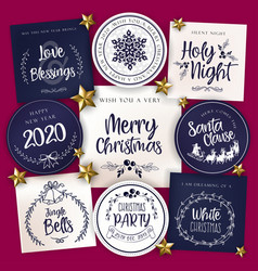 christmas typography tag cards vector image
