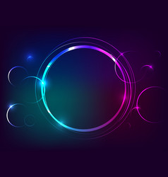 Circle neon light banner with free space for text vector