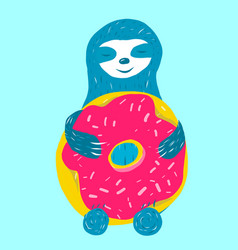 cute blue sloth is hugging vector image