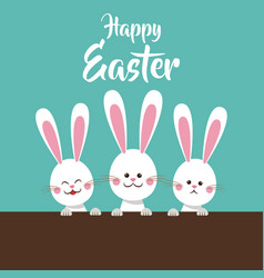Cute bunnies happy easter vector