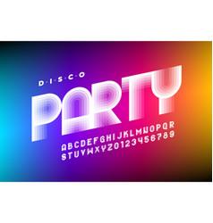 Disco party 80s style font design retro alphabet vector