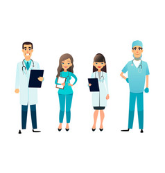 Doctors and nurses team cartoon medical staff vector