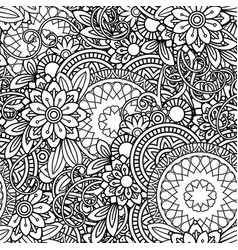 Doodles floral seamless pattern vector