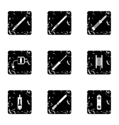 Electronic cigarette icons set grunge style vector image