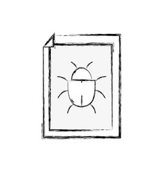 figure spider insect to danger symbol inside paper vector image