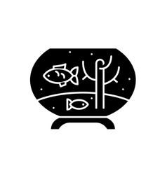 fish in the aquarium black icon sign on vector image