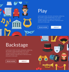 flat theatre icons web banner vector image