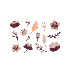 Floral hand drawn set colorful floral vector