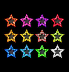 Full color gold star icons vector