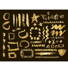 Gold design elements set Brush strokes and vector