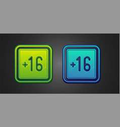 Green and blue plus 16 movie icon isolated vector