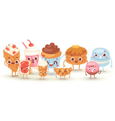 Group lovely baby sweet and dessert doodle icon vector