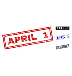 grunge april 1 scratched rectangle stamps vector image