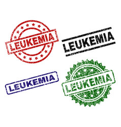 grunge textured leukemia seal stamps vector image