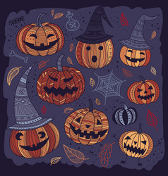 Halloween set of cute pumpkins in boho style vector